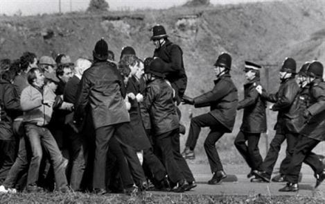 Police and the picketers in the 1984-5 strike.