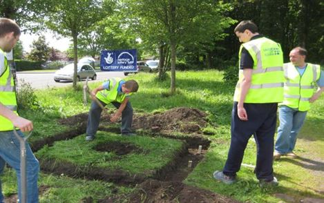 Salford City College begin laying the foundations for the monument.